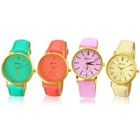 Sanwood Geneva Women Girl Fashion Faux Leather Band Analog Q...