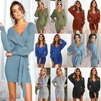 Women Long Sleeve Sweater Dress Sexy V-Neck Bodyon Mini Wrap Knitted Dress Ladies Backless Knit Cocktail Dresses with belt LJJA2686-1
