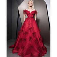 Red Ziad Nakad Перо Вечерние платья с плеча A Line Плюс Размер платья выпускного вечера Sweep Train атласное вечернее платье