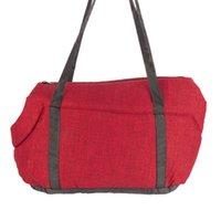 ライトペットキャリア猫犬コンフォートブラックトラベルバッグバラ赤い色MサイズPET Hangbag