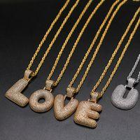 A-Z Letters hängende Halsketten Strass Individuelle Blase Buchstaben Charm Anhänger für Männer Frauen Gold Silber Farbe Zirkonia Hip Hop Schmuck