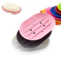 Silikon Sabun Yemekleri Esnek Anti-patinaj Sabunluk Plaka Tepsi Sızdıran Mouldproof Butik Sabun Raf CCA11519 100 adet