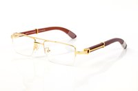 Newest new fashion sport Semi Rimless Plain Mirror Glasses Wood Bamboo Buffalo Horn Sunglasses For Men Lunettes Gafas With Original Box