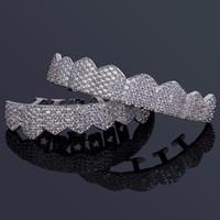 Hip Hop Bijoux Hommes diamant Dientes Grillz dents Or argent de luxe de Glacé Grills HipHop Hommes Mode Jewlery Accessoires