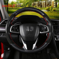 Honda Civic için 10th Crider 2019 CRV El dikiş Karbon fiber Siyah Deri direksiyon kapağı