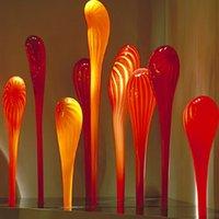 정원 조각 램프 오렌지 유리 조각 사용자 지정 7 조각 무라노 바닥 램프 웅대 한 홈 장식 야외 아트 공예
