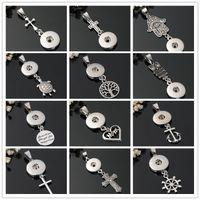 JRL Art und Weise DIY Halskette 18mm Snaps Schmuck Metal Cross Anchor MAMMA Herz FATIMA Palm Snaps-Knopf-Anhänger-Charme Noosa Entdeckungen KKA6172