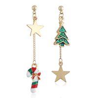 매달려 샹들리에 크리 에이 티브 크리스마스 장식품 세련된 snowmantree 펜타그램 문자 비대칭 귀걸이 선물을위한 쥬얼리