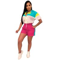 Casual hooded jumpsuit pocket shorts multi-color stitching short sleeve zipper sports jumpsuit fashion new women's wear