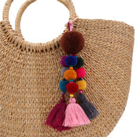 bag charm Tassel Keychains Pompom Keyring With Mirror Charms...