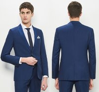 Newest Slim Fit Groom Tuxedos Dark Blue Best Man Suit Notch ...