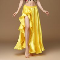 2019 New Belly Dancing Side Pulling Long Satin Skirt lady belly dance skirts Women Sexy Oriental Belly Dance Skirts