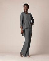 Neue graue Chiffon-formale Hosen-Klagen für Mutter-Bräutigam-Kleider Abend-Abnutzungs-lange Mutter der Brautkleider mit den Jacken plus Größe nach Maß
