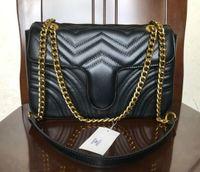 패션 Marmont 가방 사랑 심장 V 웨이브 패턴 Satchel 어깨 가방 체인 핸드백 크로스 바디 지갑 레이디 가죽 클래식 스타일 토트 백
