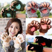 Winter-warme reizende nette Frauen Cat Claw Paw Fäustling Plüsch-Handschuh Kostüm Netter Winter Half Finger