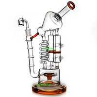 Bong Coil Tube Huge Glass Recycler Bongs Rudder Percolator W...