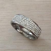 fidanzamento anello di cristallo bianco di nozze di diamante d'argento Deluxe 316L anello dell'acciaio inossidabile per le donne ragazze amanti di trasporto libero all'ingrosso