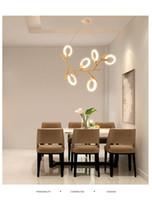 Registre la iluminación de la lámpara del comedor de la lámpara LED del restaurante Lámparas blancas del anillo de acrílico Sala de estar moderna luces colgantes iluminación de los niños
