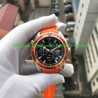Fabrik Fotografien beste Qualität Watch Co-Axial Planet Ocean Quartz Chronograph Arbeits orange Gummiband Kalenderuhr Herrenuhren