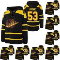 53 BO Horvat 40 Elias Pettersson 9 J. T. Miller 35 Thatcher Demko 25 Jacob Markstrom 6 Brock Boeser 밴쿠버 Canucks Hockey Hoodie
