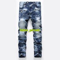 2019 Mode für Männer Jeans Herren Nostalgic Gewaschene Motorrad Jeans Gerade Tide Mens Personality-Hose-Männer Stylist Jeans
