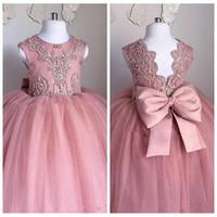 Apliques de encaje Vestidos de niña de las flores con espalda de tul Tul formal Formal 2020 Niños Vestidos de fiesta formales Con cuentas