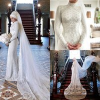 2020 Muslim Mermaid Wedding Dresses with Veil Lace Appliques...