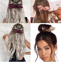 16 unids / lote venta caliente Cute Bunny Ear Girl Hair Cuerda Scrunchie Bowknot Banda elástica para el cabello para mujeres Pajaritas Accesorios para el titular de la cola de caballo