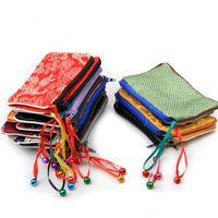 Bell Bolsas de regalo de joyería con cremallera pequeña Monedero Titular de la tarjeta Paquete de almacenamiento al por mayor Bolsa de embalaje de tela de brocado de seda con forrado 50pcs / lot