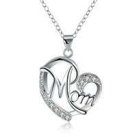Мама кулон ожерелья кристалла алмаза в форме сердца, Подвески моды Любовь Мама ювелирные изделия Мать День рождения День подарков украшения Серебро Белое золото Цвет
