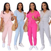 Frauen Designer Solid Color Short Sleeve Suit Sommer V Ansatz Spitze nach oben Straight Leg Sport 2-teiliges Set