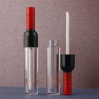 5ML 10/30 / Bouteille 50pcs en plastique transparent avec Lipgloss couleur Cap, Vide forme de vin Creative Portable Lip Gloss Tube, Tube Rouge à lèvres