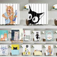 Cartoon Cat impression polyester Tissu rideau de douche pour salle de bains Nordic bain étanche écran Rideaux Décoration