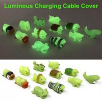 Симпатичное светящееся животное зарядное устройство для укуса дата-кабеля Защитная крышка для iPhone Симпатичное животное конструирует зарядную крышку для шнура