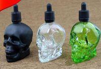 Ecig vape 120 ml boş e sıvı şişe cam kafatası kafa şişe siyah buzlu vape cam damlalık şişeler ile çocuklardan uzak sabotaj geçirmez kap