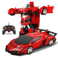 Reembolso daños 2en1 RC Car Coche de deportes Robots de transformación de modelos de control remoto RC Deformación de juguete de extinción GiFT10 de niños