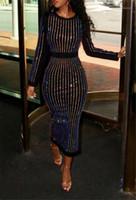 Patchwork Elbiseler Moda Ekip Boyun Uzun Kollu Giyim Tasarımcısı Ofis Lady Bodycon Elbise Kadın Kış Sequins