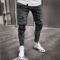 Baumwolljeans Herren Jeanshosen Distressed Freyed Slim Fit Freizeithose Stretch Ripped Jeans Fashion Kleidung