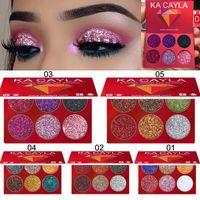 KA Cayla Paleta Olhos Maquiagem Marca Beleza Paleta de Sombra 6 cores de glitter frete grátis sombra de olho brilho