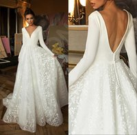 Boho Modern Long Sleeves Lace Wedding Dresses 2020 Betra V N...
