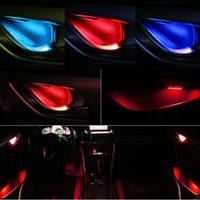 JURUS 새로운 6 색 LED 자동차 도어 분위기 램프 인테리어 문 볼 난간 손잡이 램프 장식 자동차 실내 조도