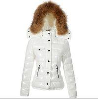 Vente chaude marque hiver femme France Outdoor Down Jacket haute qualité chaleureuse Femmes Slim Grand col de fourrure de duvet de canard blanc manteau de Parkas