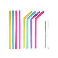 pailles en silicone coloré pour tasses pailles nourriture de silicone de qualité 25cm droit plié pour la maison pailles bar à boire