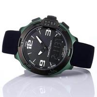 الجملة t سباق اللمس t081 شاشة مقياس الارتفاع البوصلة كرونو الكوارتز الأسود المطاط حزام نشر المشبك الأخضر الرجال ووتش المعصم الساعات