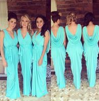 신부 들러리 드레스 V 넥 웨딩 게스트 착용 청록색 청록색 시폰 오픈 백 새끼 바닥 길이 Ruched Party Maid of Honor Gowns BD8993