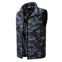 Erkek Kış Sıcak USB Isıtma Yelek Casual Kolsuz Coat Erkekler Karbon Elyaf Elektrikli Ceket Erkek Marka Giyim