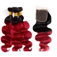 Paquetes de pelo 10A humana brasileña con el encierro Ombre Color de cabello Extensiones 3Bundles con cierre de encaje púrpura T1B 99J onda del cuerpo del pelo recto