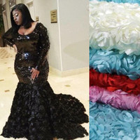 Glitter Black Mermaid Prom dress manches longues Plus Size robe Occasion spéciale robe paillettes scintillantes appliques florales 3D robes de soirée