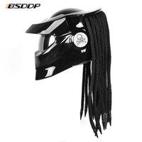 Predator elyaf cam motosiklet kask tam yüz demir savaşçı adam benzersiz şık flip up kask moto ile led spot