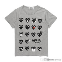 2018 Limited COM Best Quality Grigio CDG des play 1 Cuore manica corta des 1 Red Green Heart Emoji PLAY TEE Camicie casual
